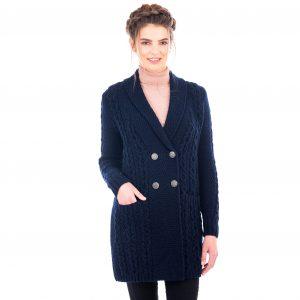 Ladies Double Breasted Navy Aran Coat