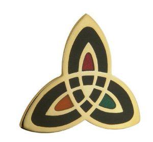 Solvar Gold Plated Trinity Knot Brooch TG1052BK