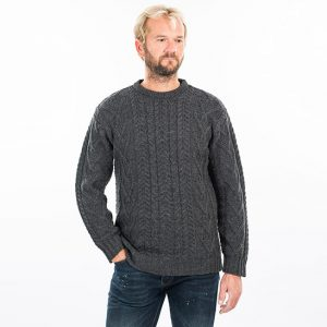 Mens Traditional Aran Crew Neck Charcoal Sweater
