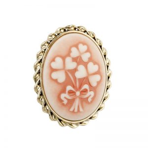Solvar Gold Plated Shamrock Cameo Style Brooch S1981