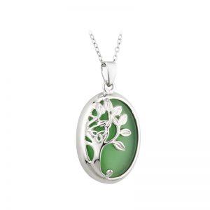 Solvar Green Cat Eye Tree Of Life Pendant S46019
