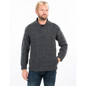 Mens Shawl Collar Single Button Charcoal Sweater