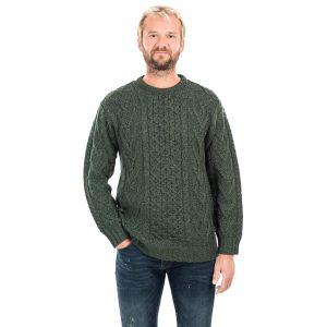 Mens Merino Wool Green Aran Sweater