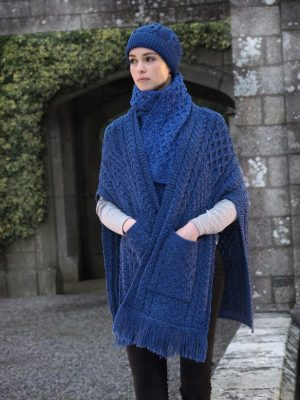 Aran Irish Cable Blue Pocket Shawl