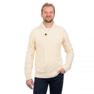Mens Shawl Collar Single Button Aran Sweater