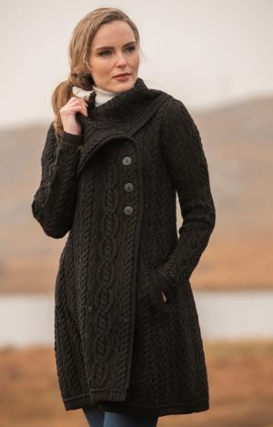 Aran Crafts Chunky Collar Black Coat