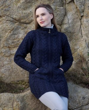 Aran Crafts Cork Long Zip Blue Coat