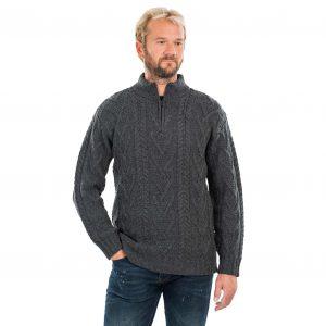 Mens Zip Neck Fisherman Aran Charcoal Sweater