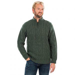 Mens Green Zip Neck Fisherman Aran Sweater