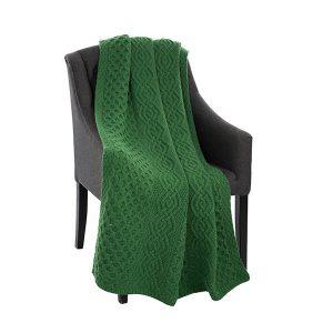 Super Soft Merino Honeycomb Green Aran Throw