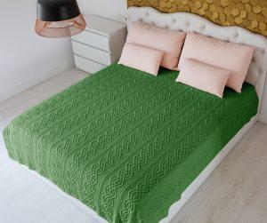 King Cable Knit Green Aran Throw