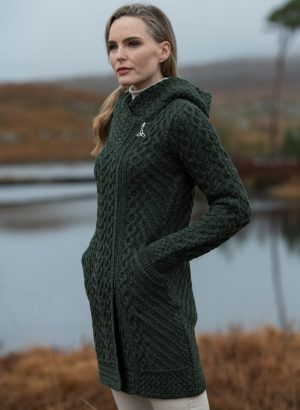 Aran Crafts Heart Design Green Hooded Coat