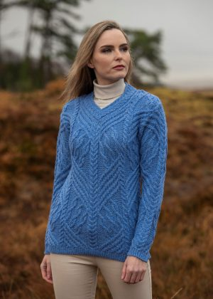 Aran Crafts Blue V Neck Sweater
