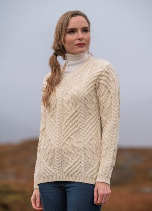 Aran Crafts Wexford V Neck Sweater