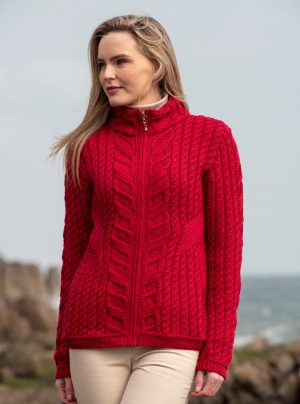 Aran Crafts Kinsale Red Aran Zip Cardigan