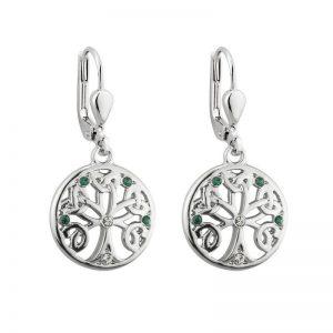 Solvar Rhodium Crystal Tree Of Life Drop Earrings S33904
