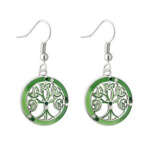 Solvar Rhodium Enamel & Crystal Tree Drop Earrings S33740