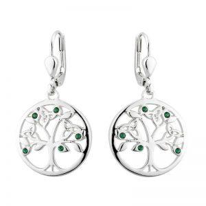 Solvar Rhodium Plated Crystal Tree Of Life Drop Earrings S33907R
