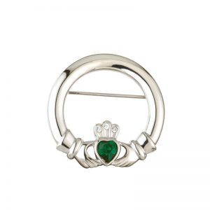 Solvar Rhodium Plated Green Crystal Heart Claddagh Brooch S1913