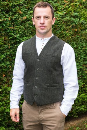 Green Tweed Herringbone Waistcoat