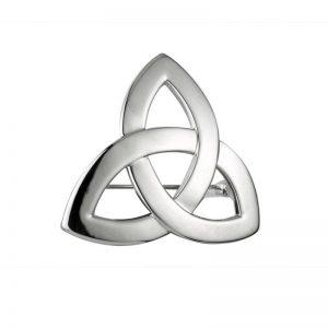 Solvar Rhodium Plated Trinity Knot Brooch S1916