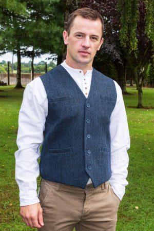 Navy Tweed Herringbone Waistcoat