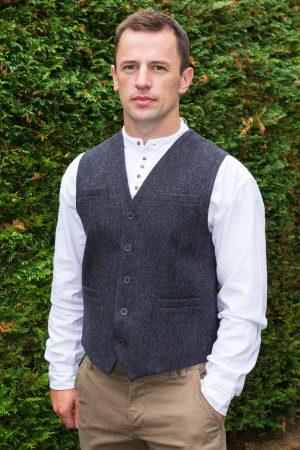 Gray Tweed Herringbone Waistcoat
