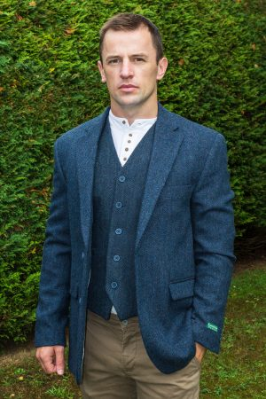 Navy Tweed Herringbone Sports Coat