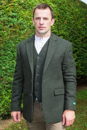 Green Tweed Herringbone Sports Coat