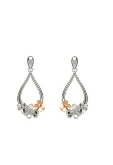 House of Lor Diamond Set 9ct White Gold Shamrock Earrings H30081