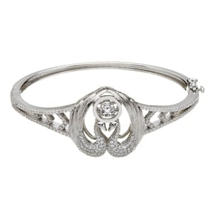 Children of Lir Bangle with White CZ Eyes