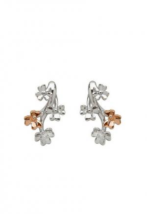 House of Lor Diamond Set 9ct White Gold Shamrock Earrings H30077