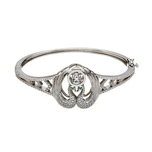 Children of Lir Bangle with Green CZ Eyes