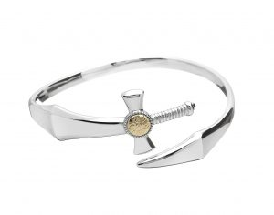 Nuada Silver Bangle with Gold Plated Bead