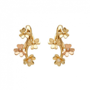 House of Lor 9ct Gold diamond Set Love Shamrock Stud Earrings H30078