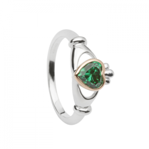 House of Lor Claddagh Ring With Centre Green Stone H20040