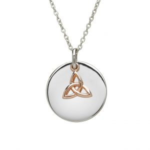 House of Lor Round Disc With Hanging Rose Gold Trinity Knot H40002