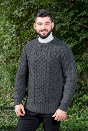 Aran Mens Merino Wool Charcoal Sweater