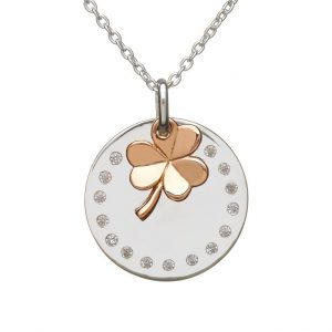 House of Lor Round Disc With Hanging Rose Gold Shamrock H40004
