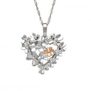 House of Lor 9ct White Gold Diamond Shamrock Heart Pendant H40085