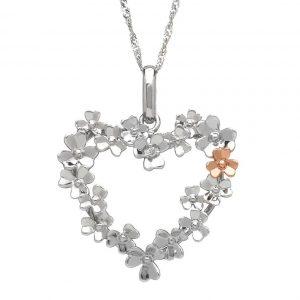House of Lor 9ct White Gold Diamond Set Shamrock Heart Pendant H40083