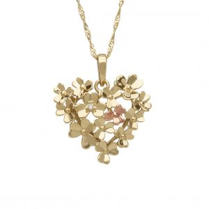 House of Lor 9ct Yellow Gold Love Shamrock Heart Pendant H40086