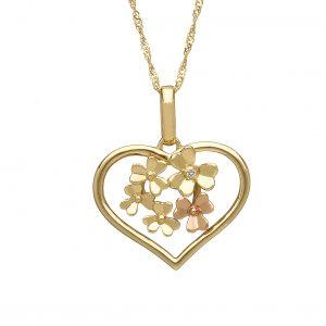 House of Lor 9ct Gold Love Shamrock Open Heart Pendant H40080