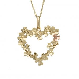 House of Lor 9ct Gold Love Shamrock Large Heart Pendant H40084