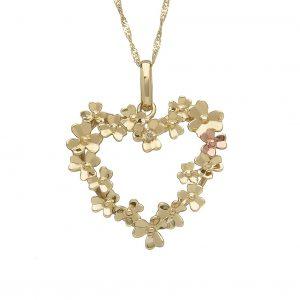 House of Lor 9ct Gold Love Shamrock Large Heart Pendant H40084