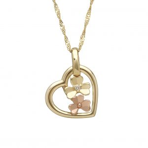 House of Lor 9ct Gold Love Shamrock Small Heart Pendant H40082