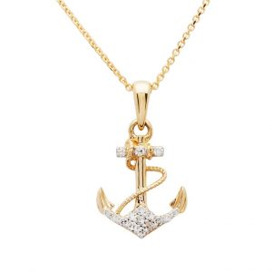 Anchor Necklace in 14k Gold & Diamond OC219G