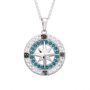 Blue Compass Pendant with Aqua Swarovski® Crystals OC175