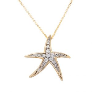 Dancing Starfish Necklace in 14k Gold & Diamond OC231G
