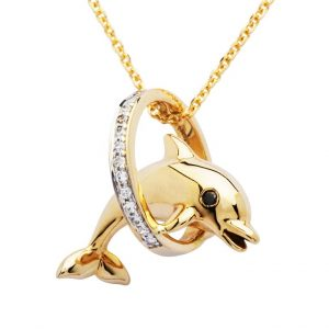 Dolphin Ring Necklace in 14k Gold & Diamond OC211G